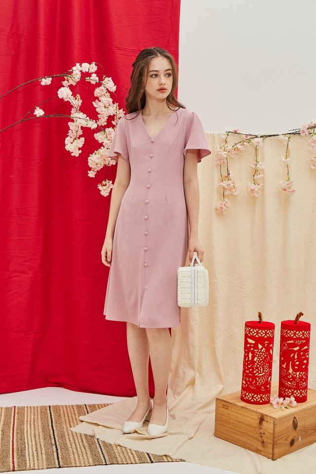 Taylee Button Midi Dress in Pink (XS)