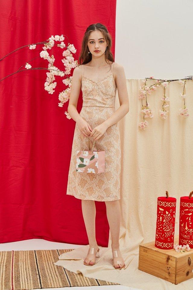 Janel Premium Bustier Lace Midi Dress in Champagne Nude