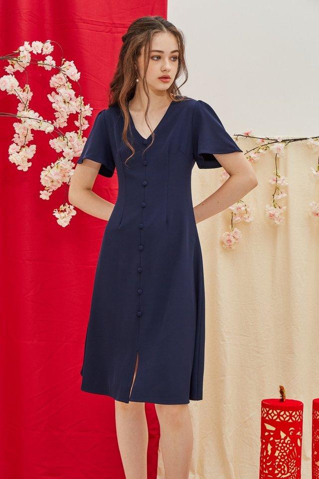 Taylee Button Midi Dress in Navy