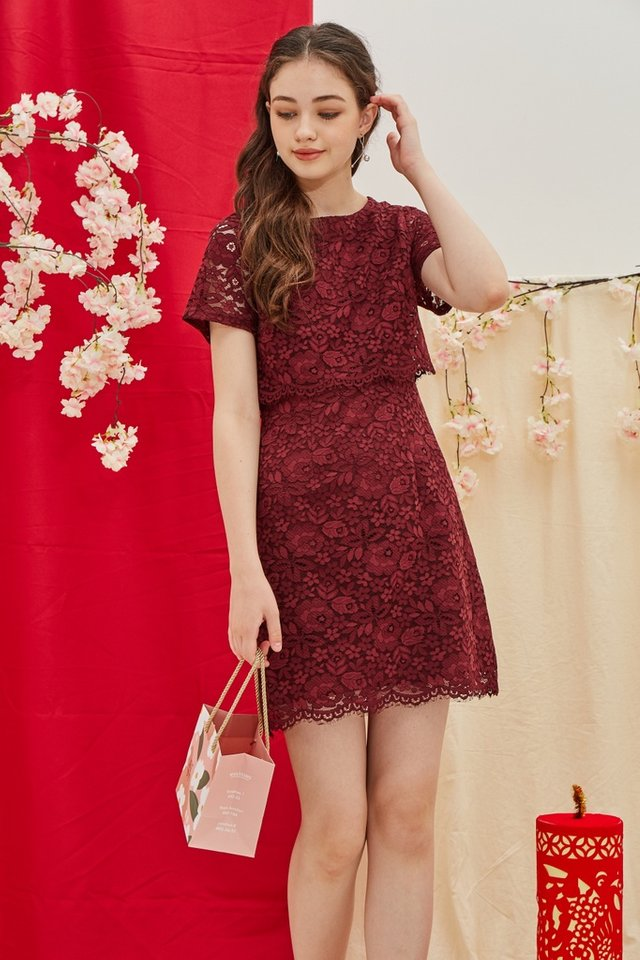 Gace Premium Lace Layered Sleeves Dress in Wine (XS)