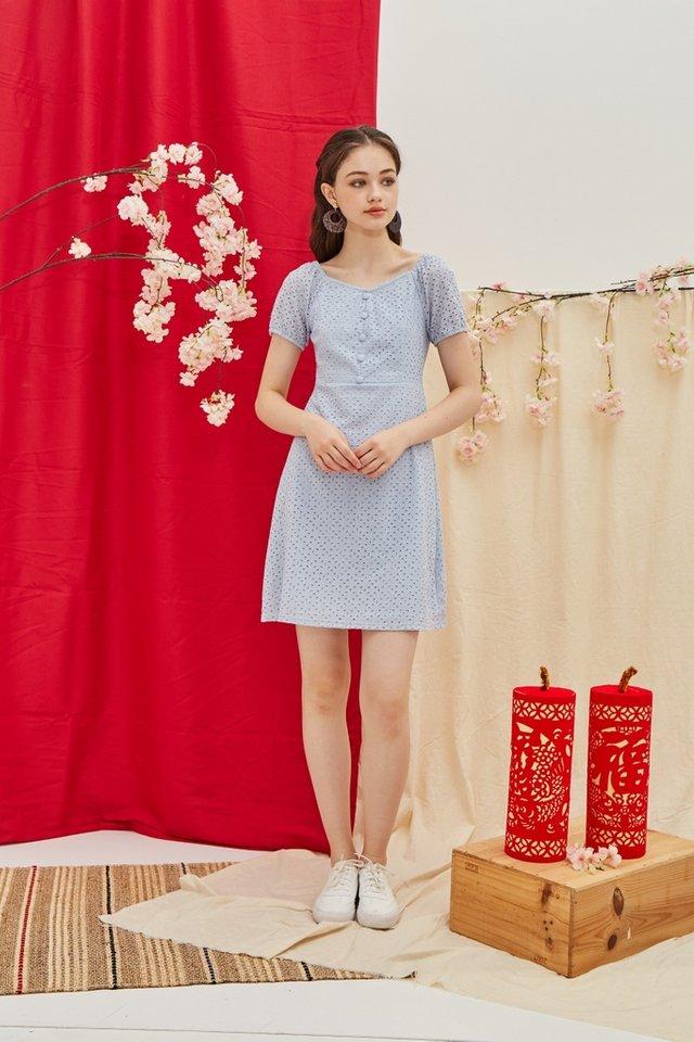 Gena Premium Eyelet 2-Way Button Dress in Blue (L)