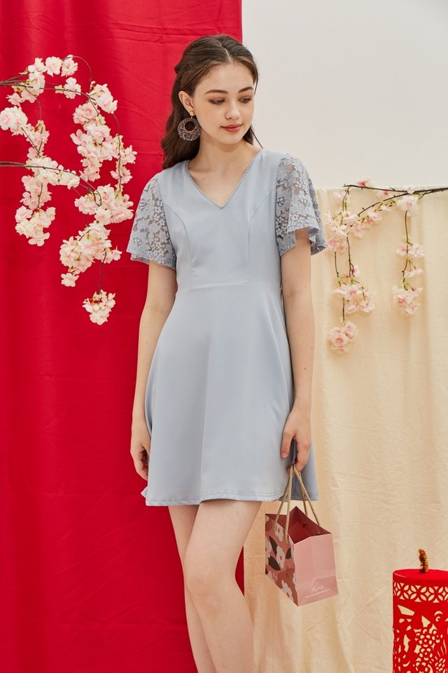 Abree Lace Sleeved Skater Dress in Powder Blue
