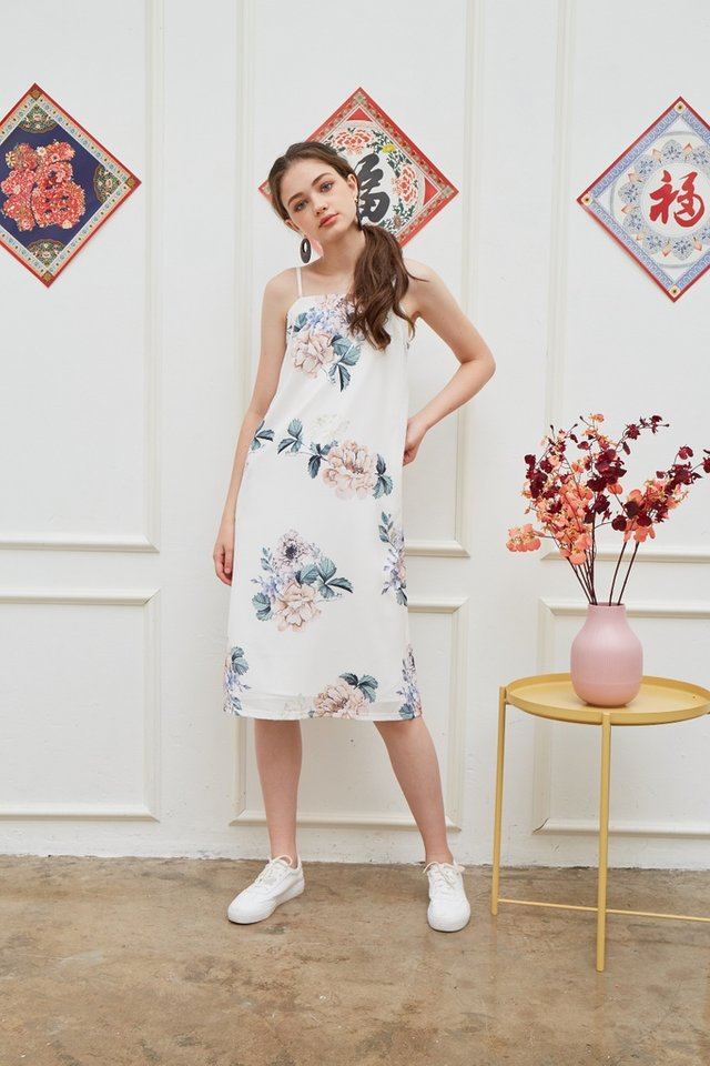 Lucinda Floral Midi Dress in White