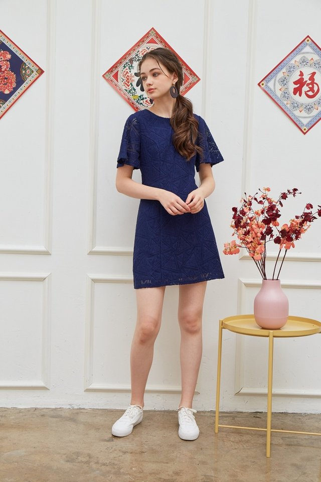 Garnett Premium Lace Panel Dress in Navy (XS)