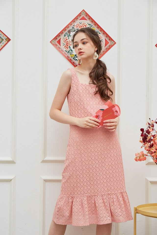 Phillis Premium Eyelet Dropwaist Dress in Pink