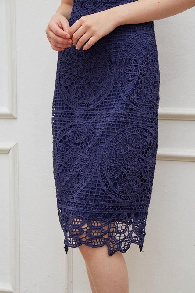Kelsey Premium Crochet Midi Dress in Navy