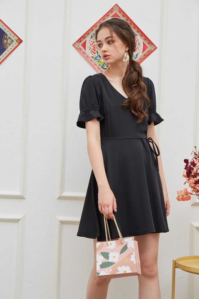 Stephany Overlap Flare Dress in Black (XS)