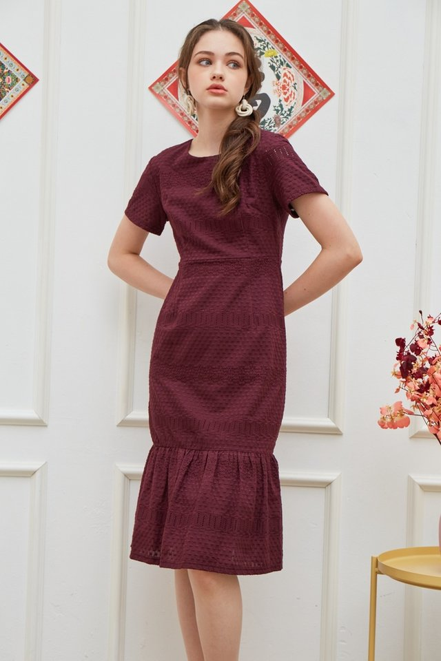 Janna Premium Eyelet Dropwaist Midi Dress in Plum (XS)