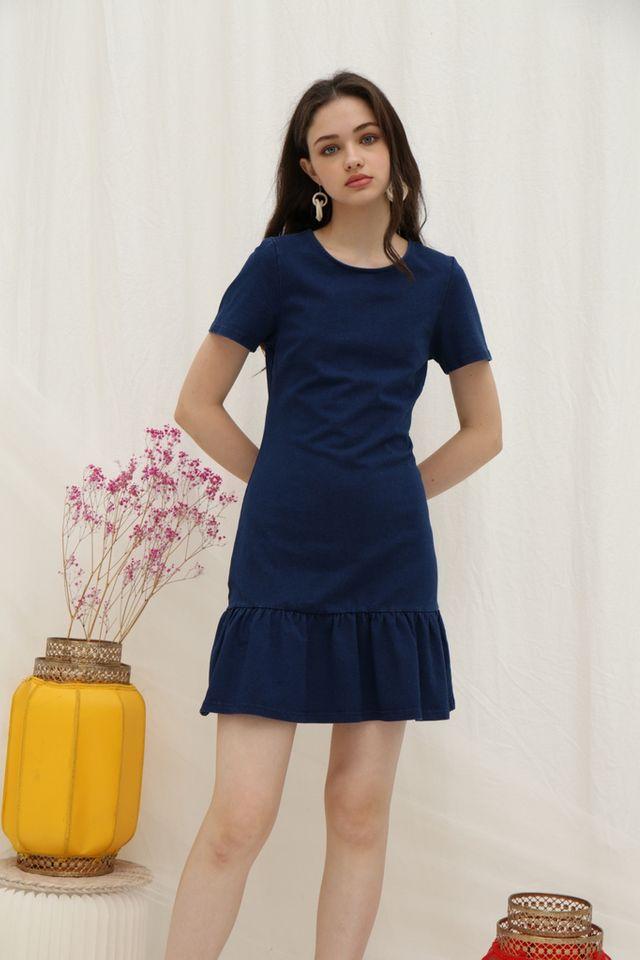 *Online Exclusive* Erin Denim Dropwaist Dress in Dark Wash