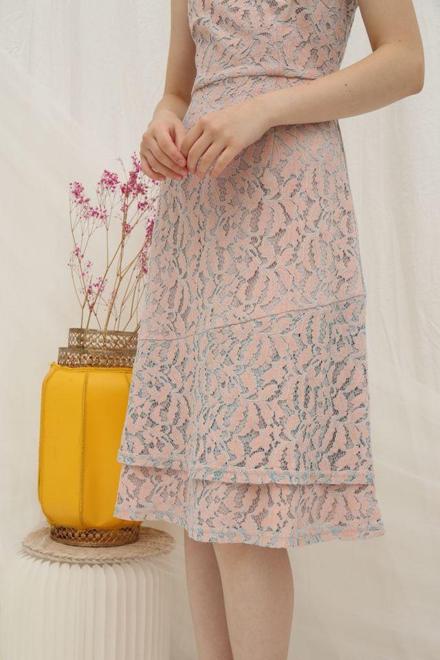 Alecia Premium Lace Tiered Midi Dress in Pink