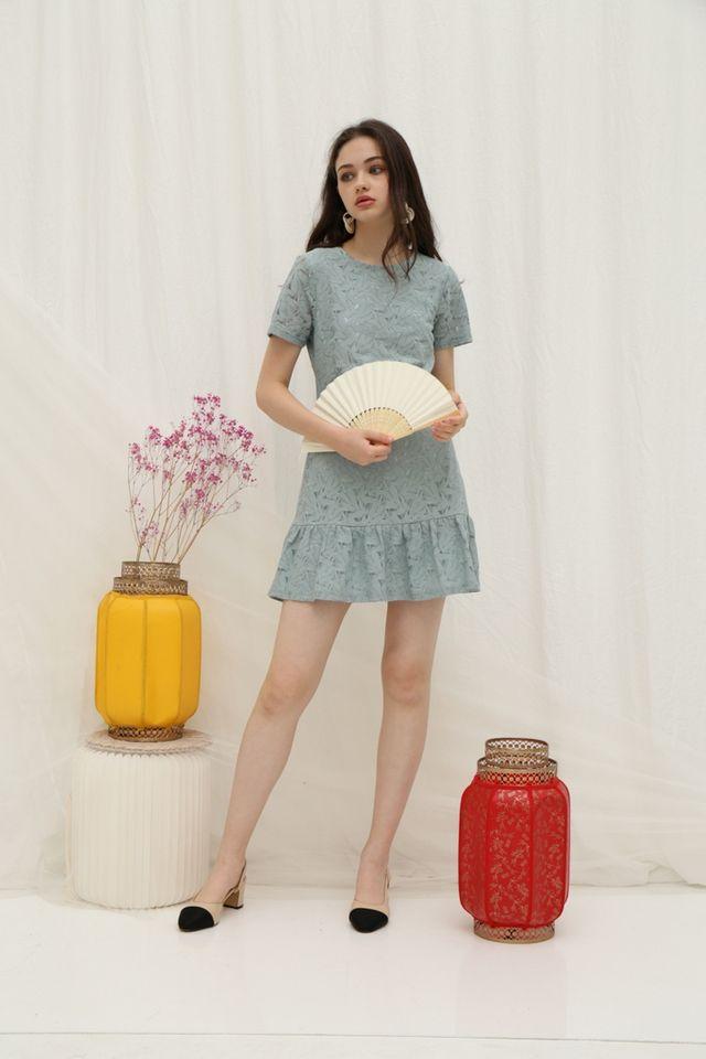 Hally Lace Ruffled Hem Dress in Sage