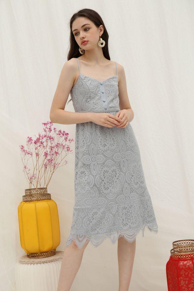 Lettie Premium Lace Button Midi Dress in Blue