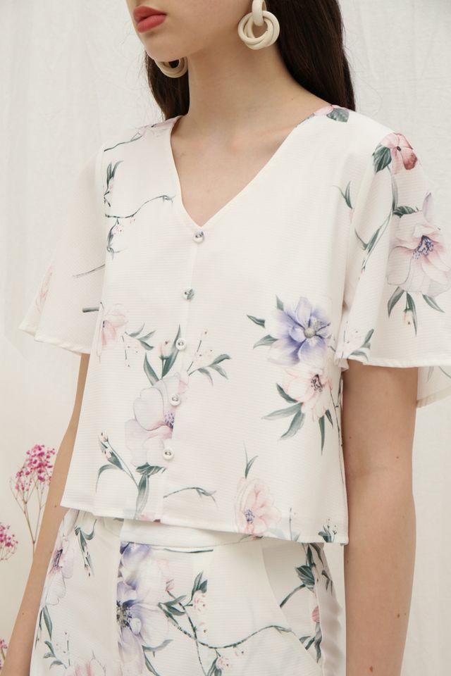 Winona Floral Button Top in White