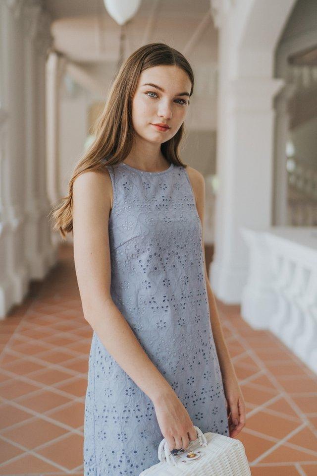 Briella Eyelet Sleeveless Dress in Blue