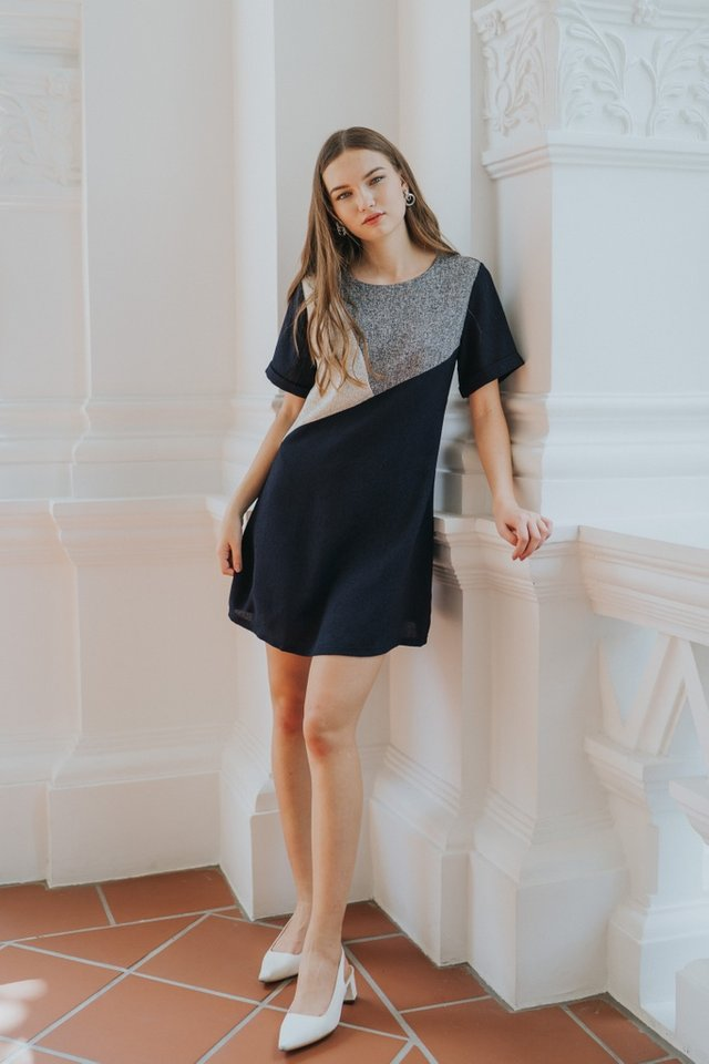 Melany Colourblock Tweed Dress in Navy