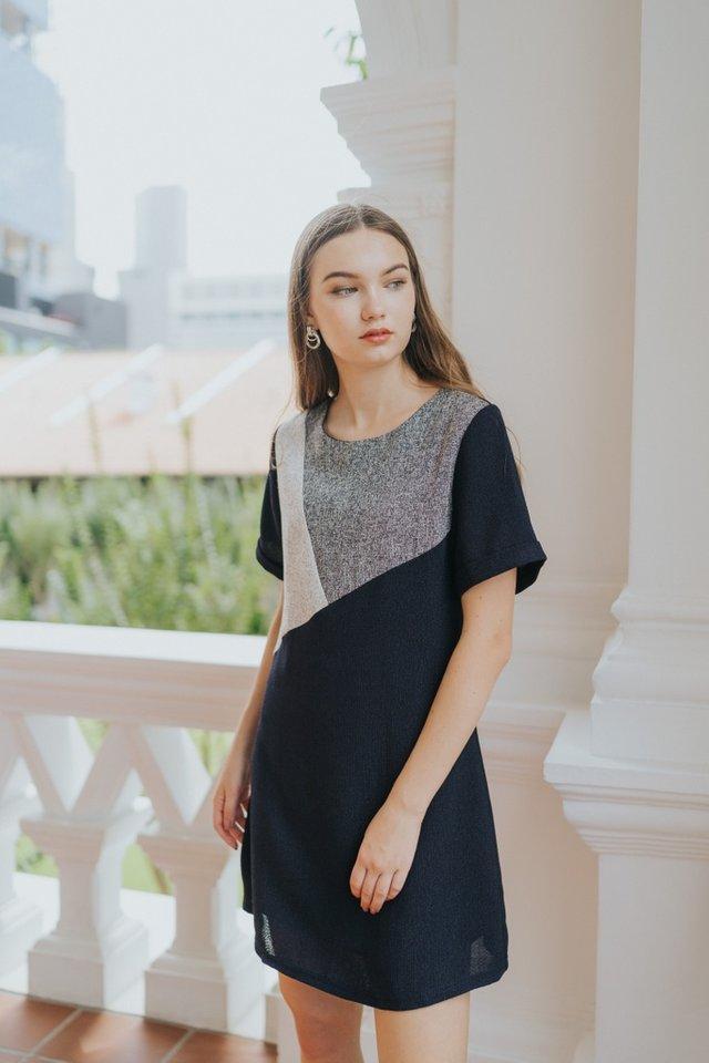 Melany Colourblock Tweed Dress in Navy