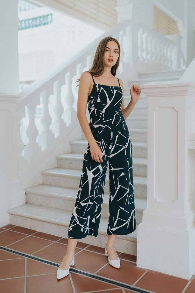 Veda Abstract Wide Leg Jumpsuit in Forest (XS)