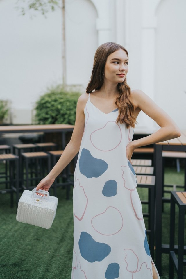 Nalani Abstract Maxi Dress in White
