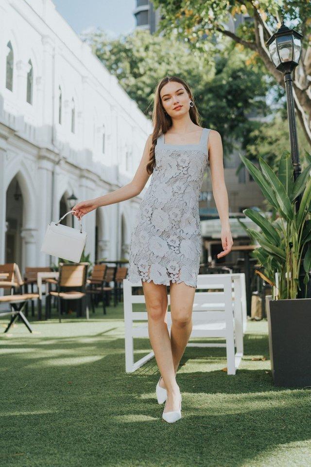 Alexa Premium Rose Crochet Dress in Ash Grey