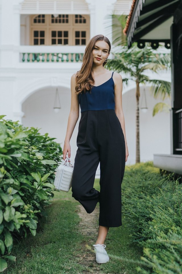 Zarya Colourblock Jumpsuit in Black