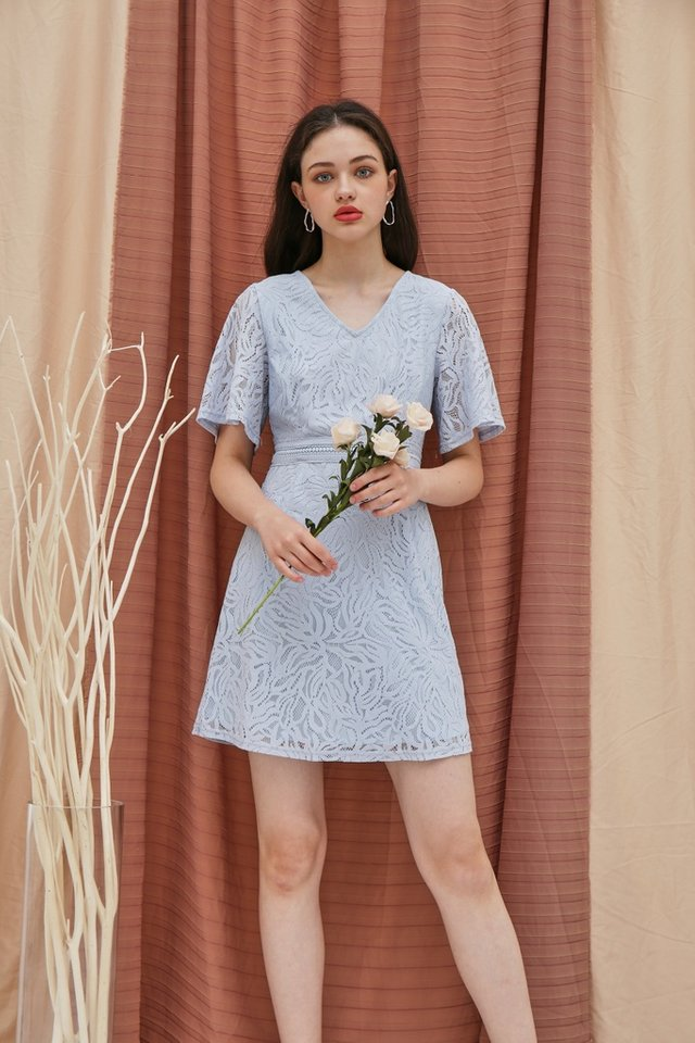 Fanny Premium Lace Sleeved Dress in Blue (XS)
