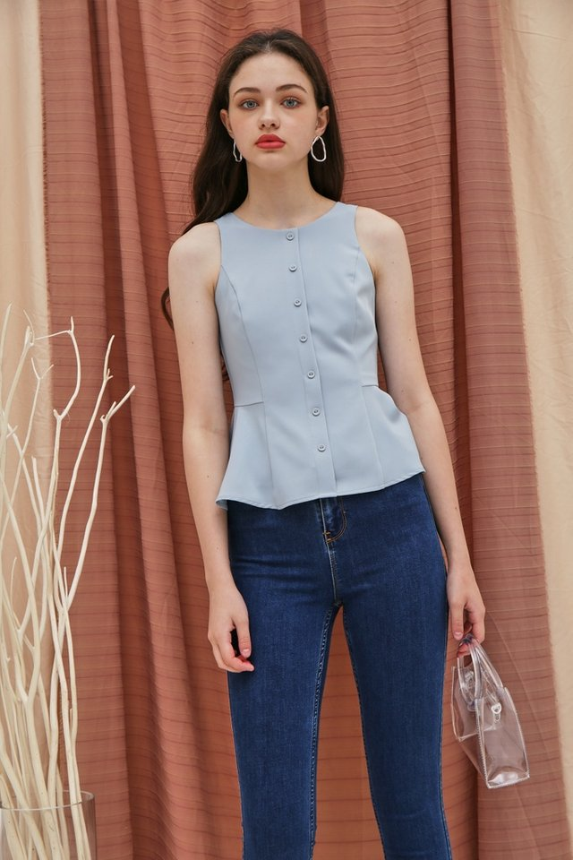 Yalena Faux Button Peplum Top in Blue