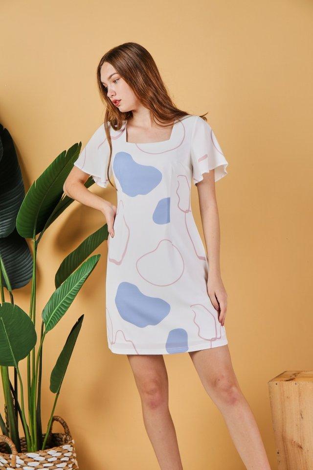 Davina Square Neck Dress in White