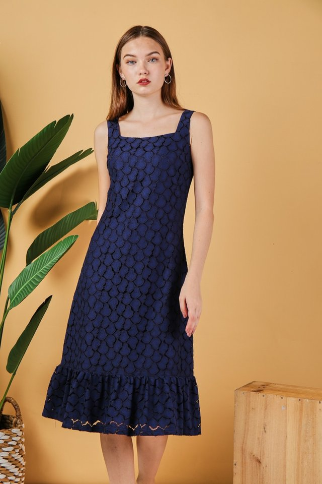 Agnes Hearts Lace Midi Dress in Navy