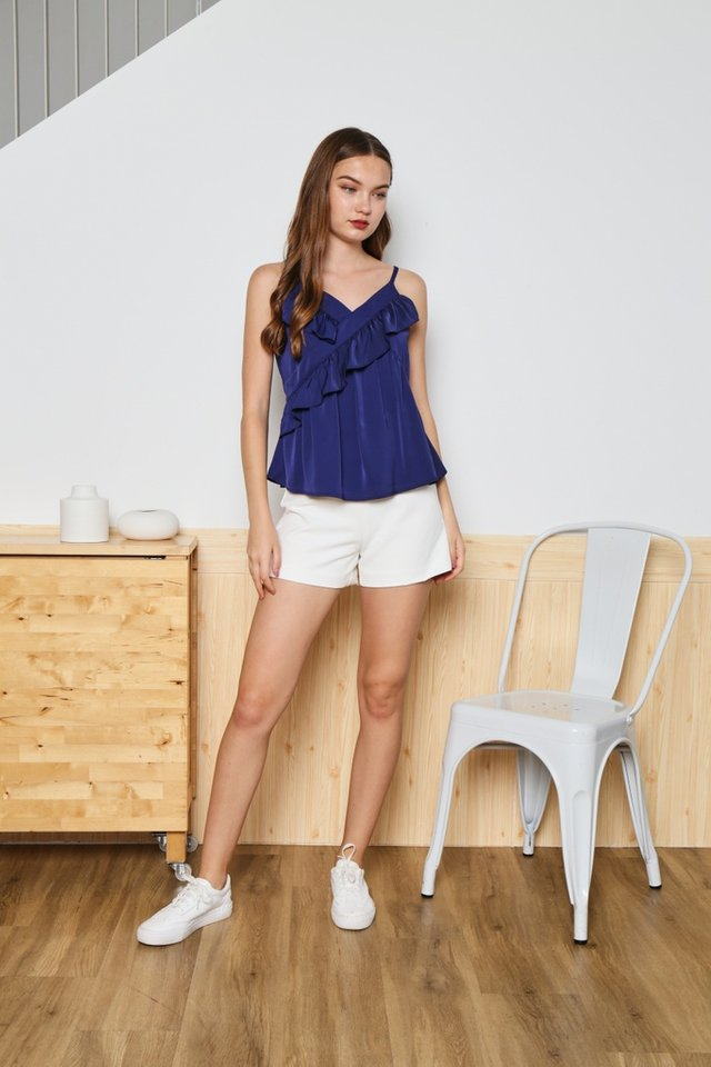 Sherry Ruffled Tiered Camisole Top in Navy
