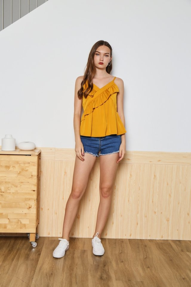 Sherry Ruffled Tiered Camisole Top in Mustard