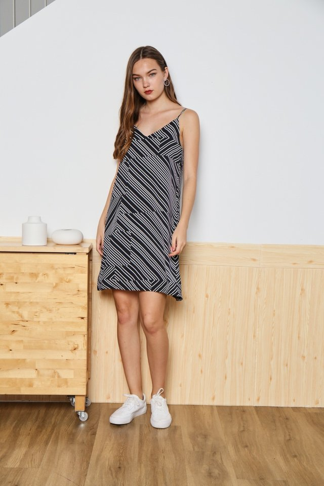 *Online Exclusive* Camilla Striped Camisole Dress in Black