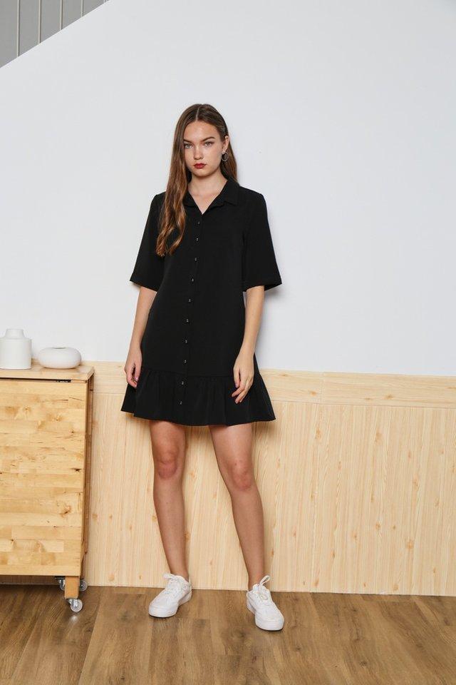 Joelle Collar Shirt Dropwaist Dress in Black