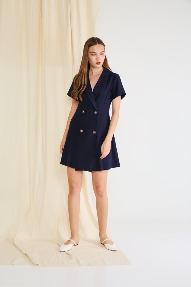 Hazel Double Breasted Button Dress in Navy