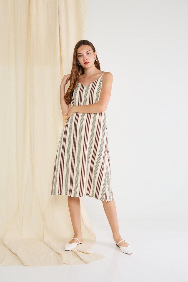 *Online Exclusive* Esther Striped Midi Dress in Cream