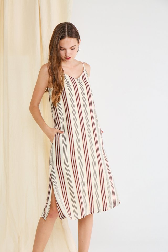 *Online Exclusive* Esther Striped Midi Dress in Cream