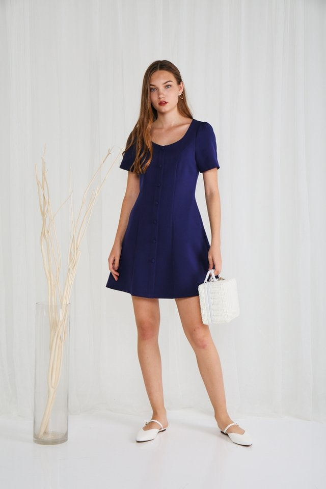 Celeste Button Panel Dress in Navy