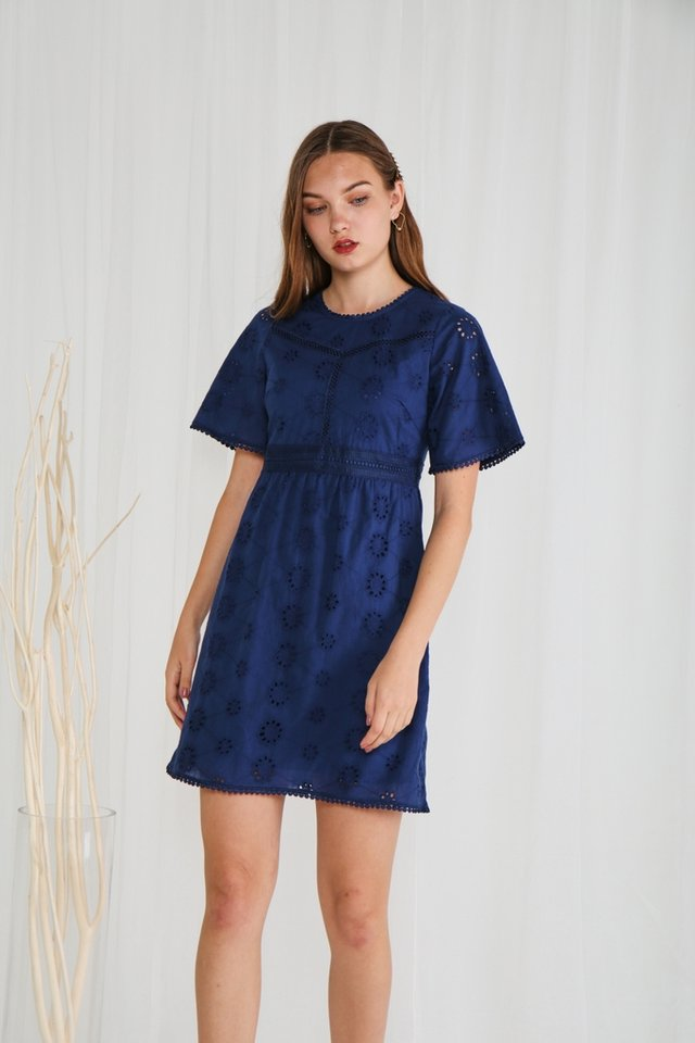 Kimber Eyelet Sleeved Dress in Navy
