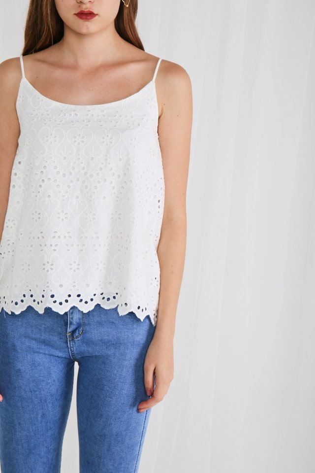 Romina Eyelet Camisole Top in White