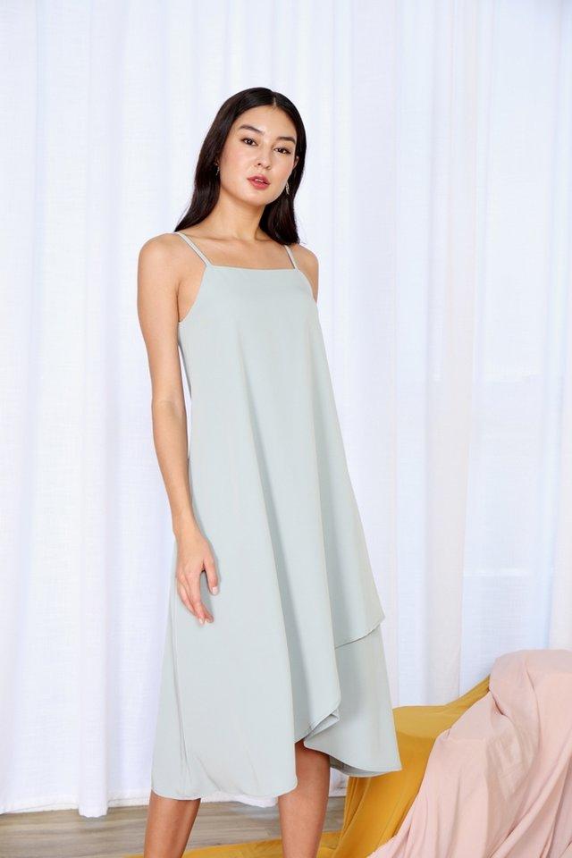 Alair Overlap Hem Midi Dress in Sage