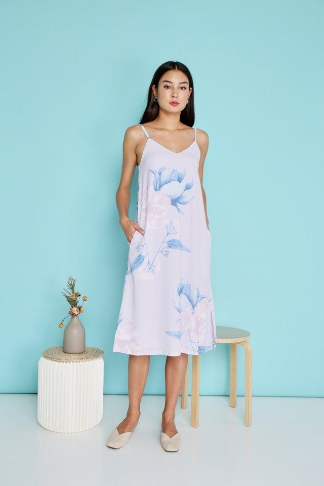 Yasmin Floral Midi Dress in Lilac