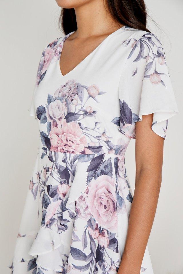 Mila Floral Signature Ruffles Dress in White