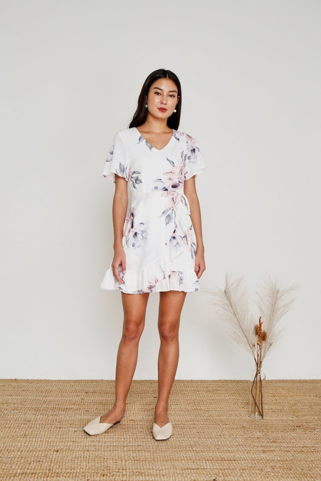 Danna Floral Signature Ruffles Dress in White