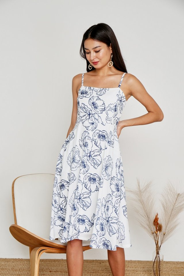 Katie Abstract Floral Midi Dress