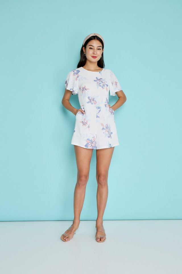 Everly Abstract Floral Romper in White
