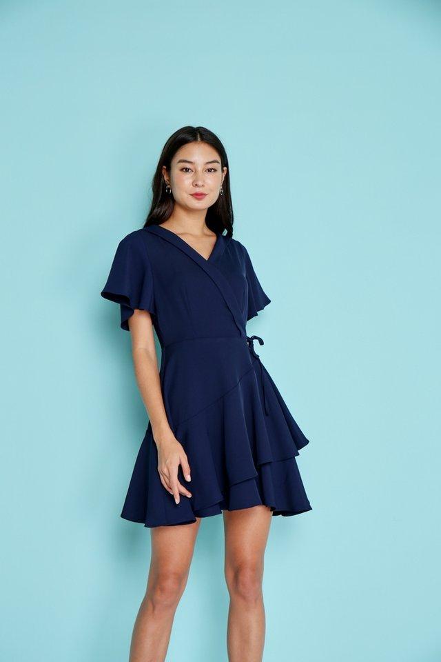 Ayleen Tiered Skater Dress in Navy (XS)