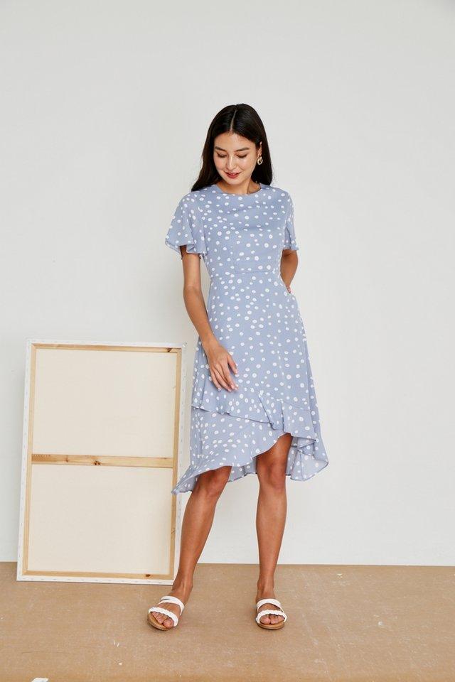 Maelle Polka Dot Petal Hem Midi Dress in Powder Blue