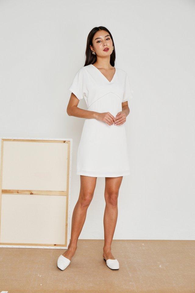 Renae Eyelet Trim Sleeved Dress in White