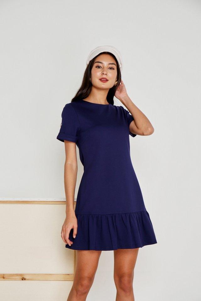 Evalyn Tab Sleeves Dropwaist Dress in Navy