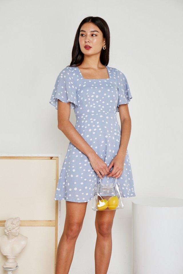 Genny Polka Dot Square Neck Dress in Powder Blue (XS)