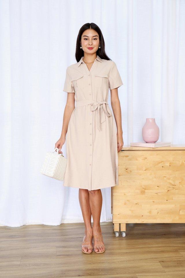 Bailee Button Shirt Dress in Ecru